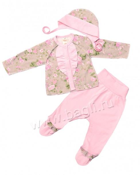 Фото Комплект для новорожденных Розомания: кофточка с рюшей и ползунки, серый. Baby Boom