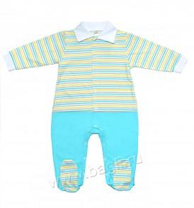 Нарядный комбинезон от Baby Boom для новорожденных мальчиков с отложным воротничком в деловом стиле.
