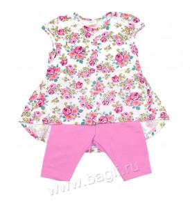 Фото Летний комплект для девочки Кантри в цветочек. Розовые леггинсы. Baby Boom