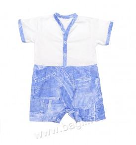 Летний песочник с короткими рукавами в джинсовом стиле.