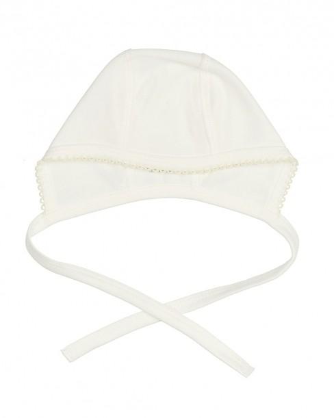 Фото Чепчик для новорожденных, молочно-белый, размер 40 (1-3 мес).
