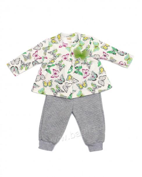 Фото Теплый комплект для девочки Бабочки: штанишки и теплая кофточка. BabyBoom