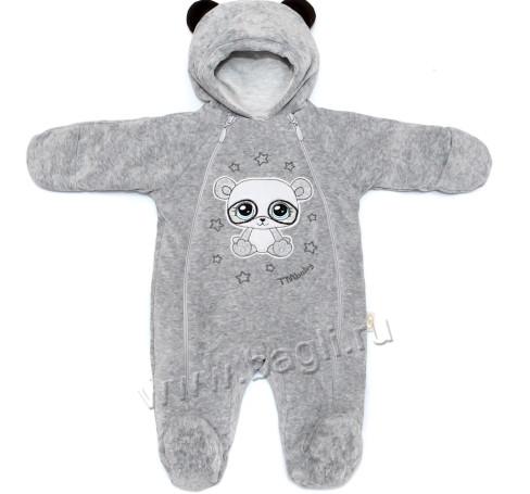 Фото Комбинезон утепленный Панда серый. TM Baby