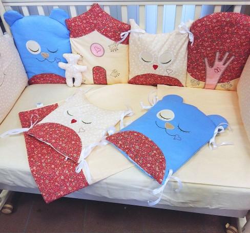 Фото Комплект в кроватку для новорожденных Ночной Лес, бежевый