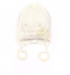 Демисезонная вязаная шапочка на хлопковой подкладке