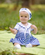 Фото Летний комплект для девочки Морячка, красный. Алиса