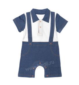 Песочник с воротничком для мальчика в деловом стиле