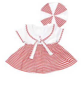 Летнее платье и берет для девочки красный
