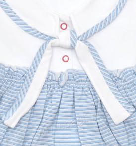 Фото Летний комплект для девочки Морячка, голубой. Алиса