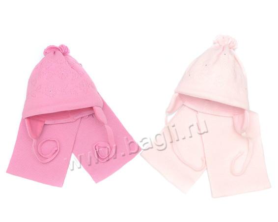 Фото Шапка с шарфом для новорожденных розовая, 0-3 месяца. Grans, Польша
