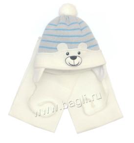 Фото: Шапка с шарфом Мой Медвежонок Grans, шарфик белый