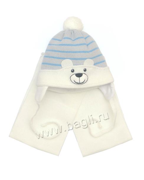 Фото Шапка с шарфом Мой Медвежонок Grans, шарфик белый. Польша. Размер 0-3 месяца