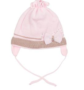 Фото Демисезонная шапка для девочки Бантик Grans розовая