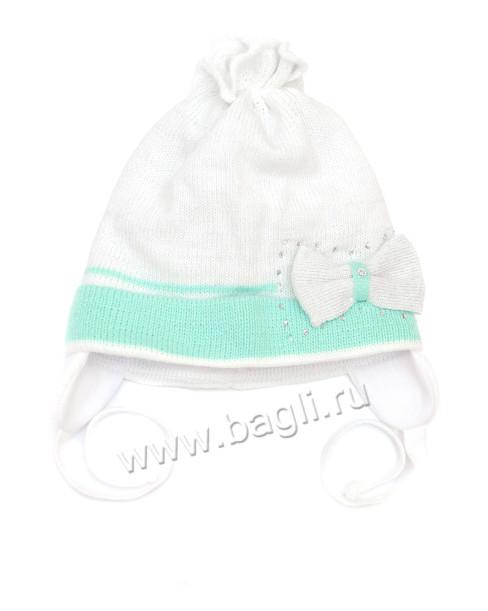 Фото Демисезонная шапка для девочки Бантик Grans белая