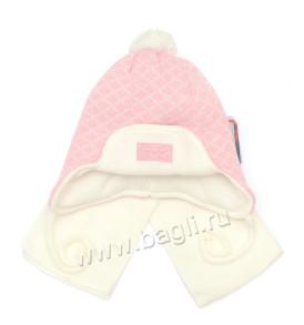 Фото: розовая зимняя шапка для девочки Ромбики - купить на bagli.ru