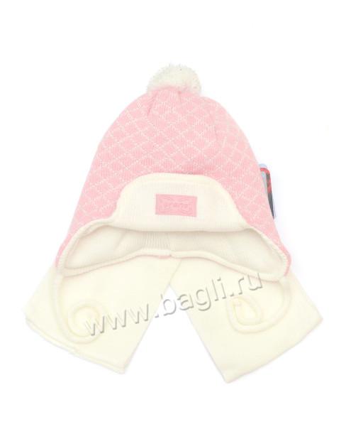 Фото Шапка с шарфом для девочки Grans, нежно-розовая, размер 42-44. Польша