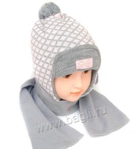 Зимняя шапка для девочки Grans Ромбики - купить на bagli.ru