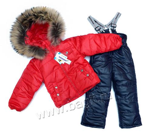 Фото Зимний комплект с натуральной опушкой, красный. Pikolino