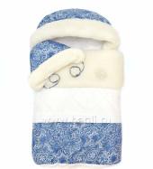 Фото 1: Синий меховой конверт для новорожденных Морозко на Bagli.ru