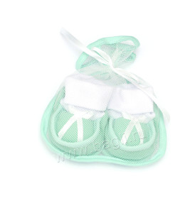 Пинетки для новорожденных с бантиком зеленые