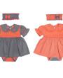 Фото Летний комплект для девочки Горошек, серый. Алиса