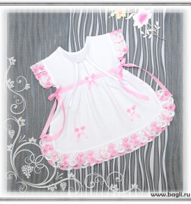 Фото Летнее платье Кристина, розовая отделка. Алиса