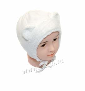 Фото Зимняя шапка с ушками MirMar белая, хлопок. Польша