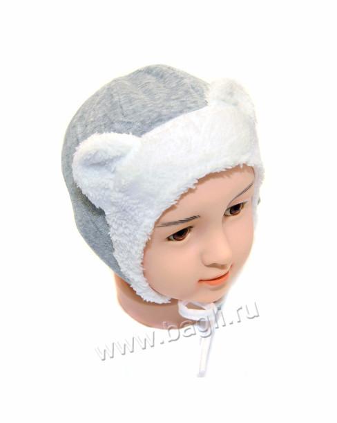 Фото Зимняя шапка с ушками MirMar серая, хлопок. Польша