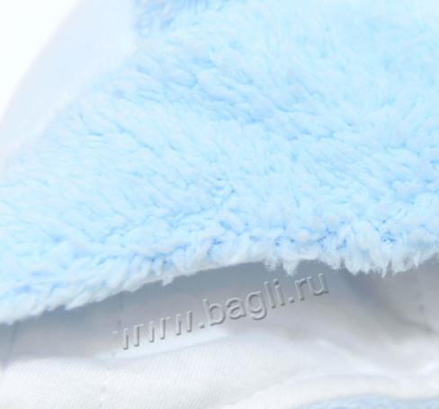 Фото Зимняя шапка с ушками MirMar голубая, хлопок. Польша
