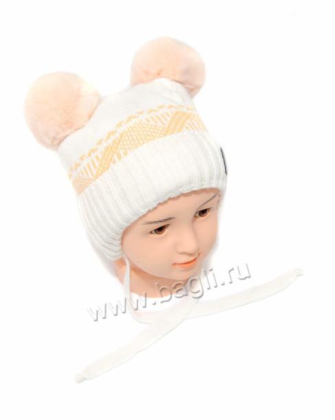Фото Зимняя шапка Шалунья персиковый. Prikinder