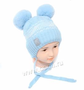 Фото Зимняя шапка Шалуны голубая. Prikinder