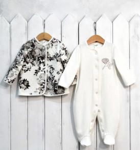 Фото Комплект для девочки Винтаж: комбинезон и теплая кофточка, BabyBoom