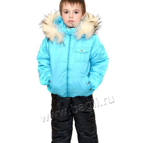 Фото Зимний комплект с натуральной опушкой, бирюзовый. Пиколино