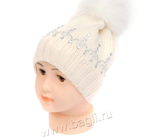 Фото Шерстяная шапка стразы Svarovsky, молочный. TuTu, Польша