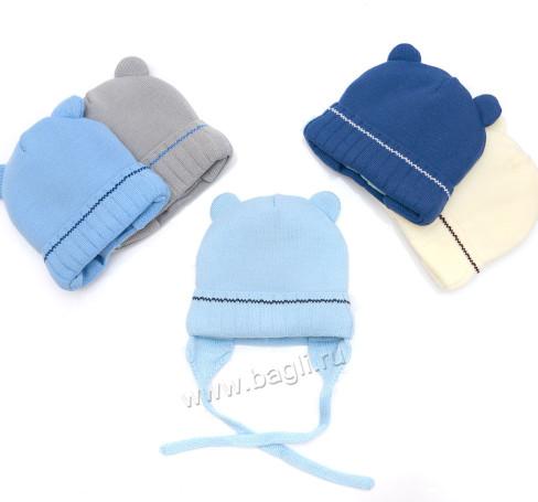 Фото Зимняя шапка для новорожденных Мишутка 38-40, Prikinder