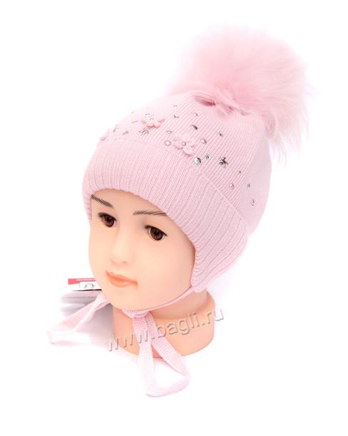 Фото Зимняя шапка на изософте Diamods розовый Barbaras