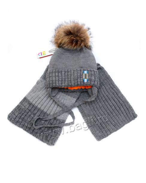Фото Зимняя шапка с шарфом серая, Barbaras Польша