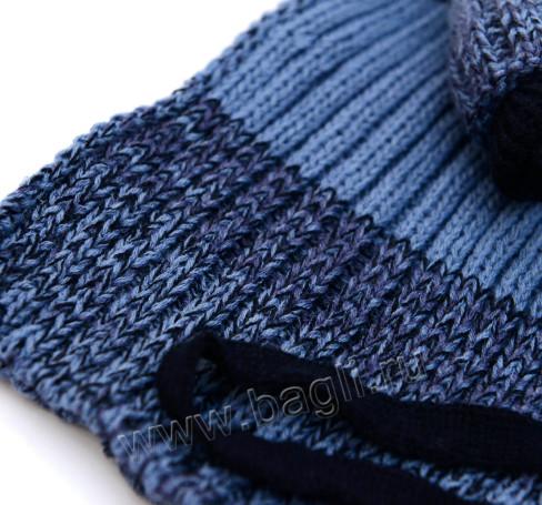 Фото Зимняя шапка с шарфом синяя, Barbaras Польша