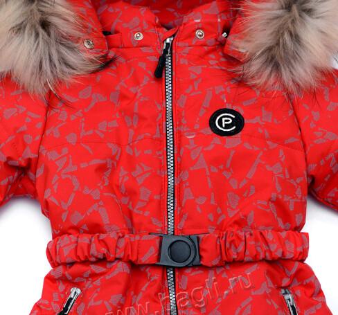 Фото Мембранный светоотражающий комбинезон Пиколино красный